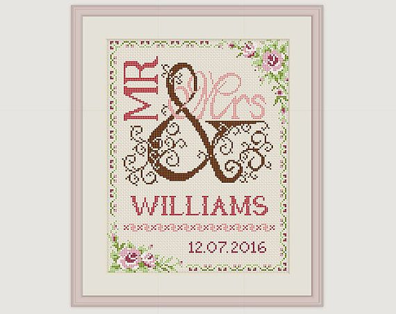 Elegant Wedding Cross Stitch Pattern Gift for Couple Mr & Mrs Wedding Embroidery Designs Of Wonderful 48 Photos Wedding Embroidery Designs