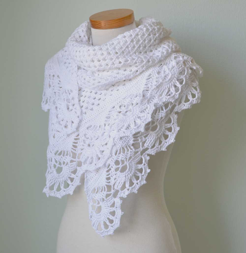 Elegant White Lace Shawl with Crochet Royal Trim G743 Crochet A Shawl Of Beautiful Cornflower Blue Free Crochet Pattern Crochet A Shawl