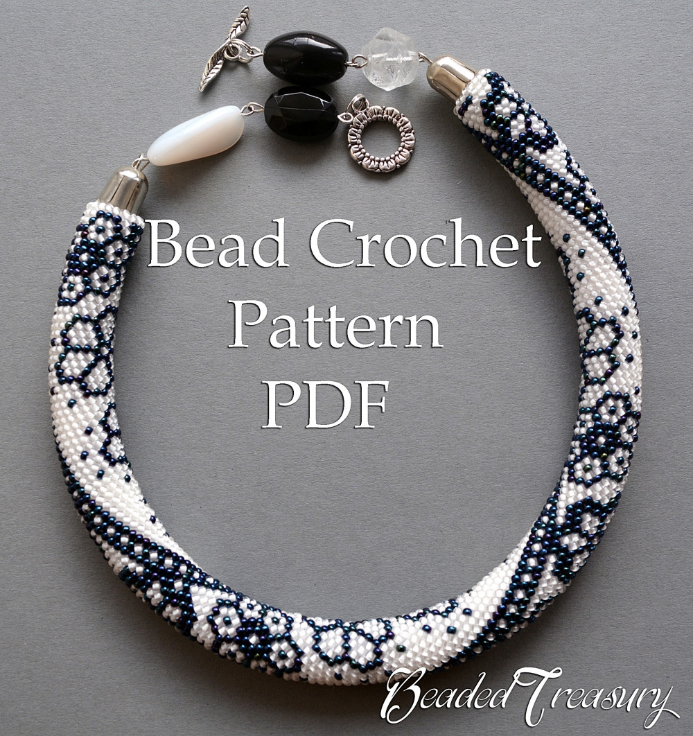WINTER LACE bead crochet necklace pattern Bead crochet
