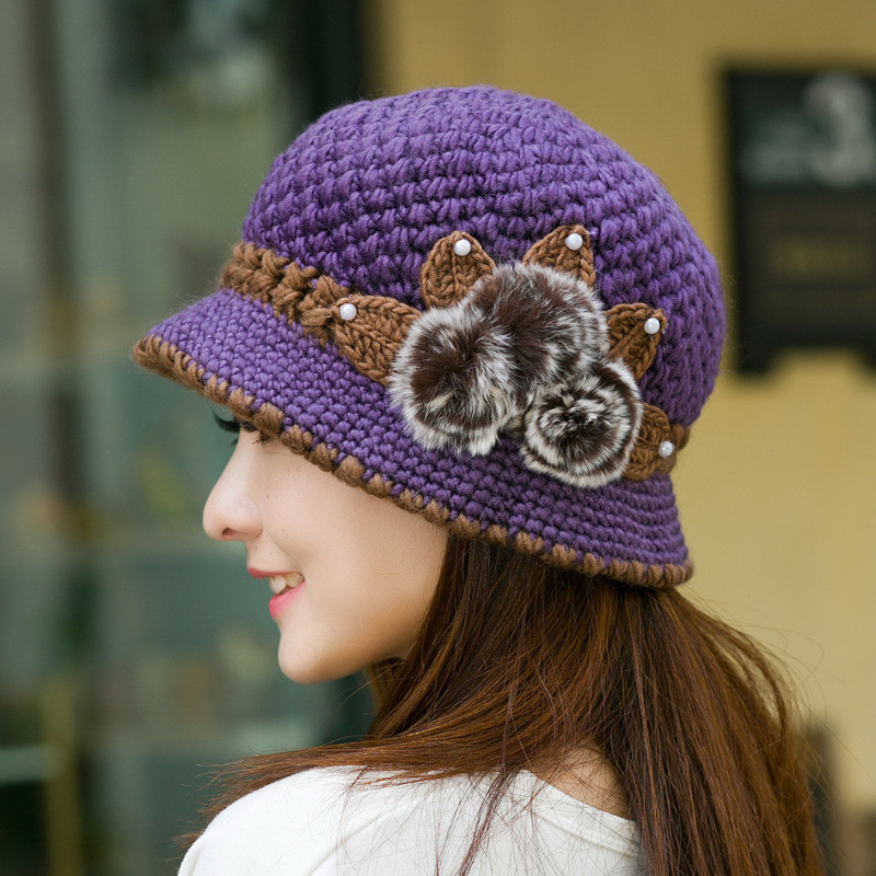Women La s Knitting Crochet Faux Rabbit Fur Beanie Hat