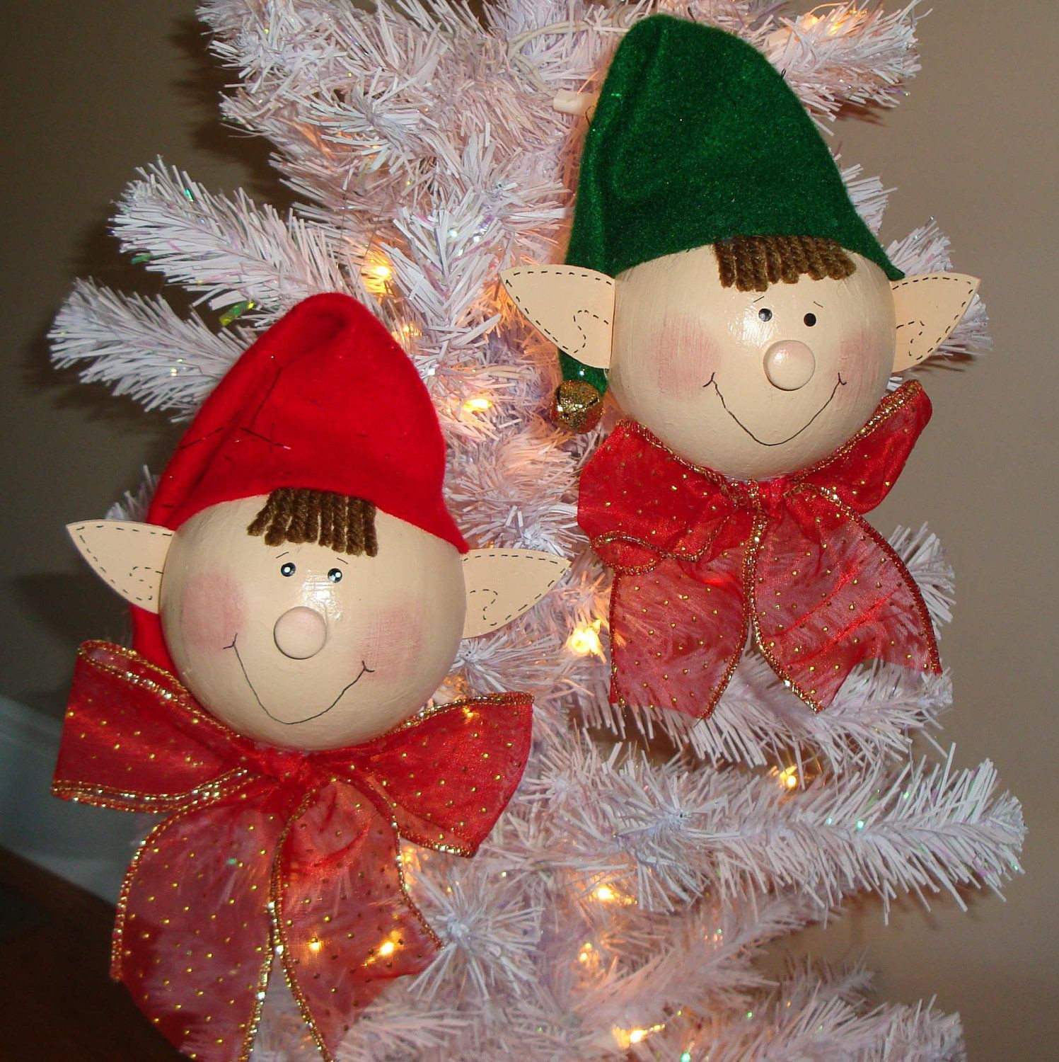 Erwin and Everett Elf Ornaments Set of 2 Red and Green