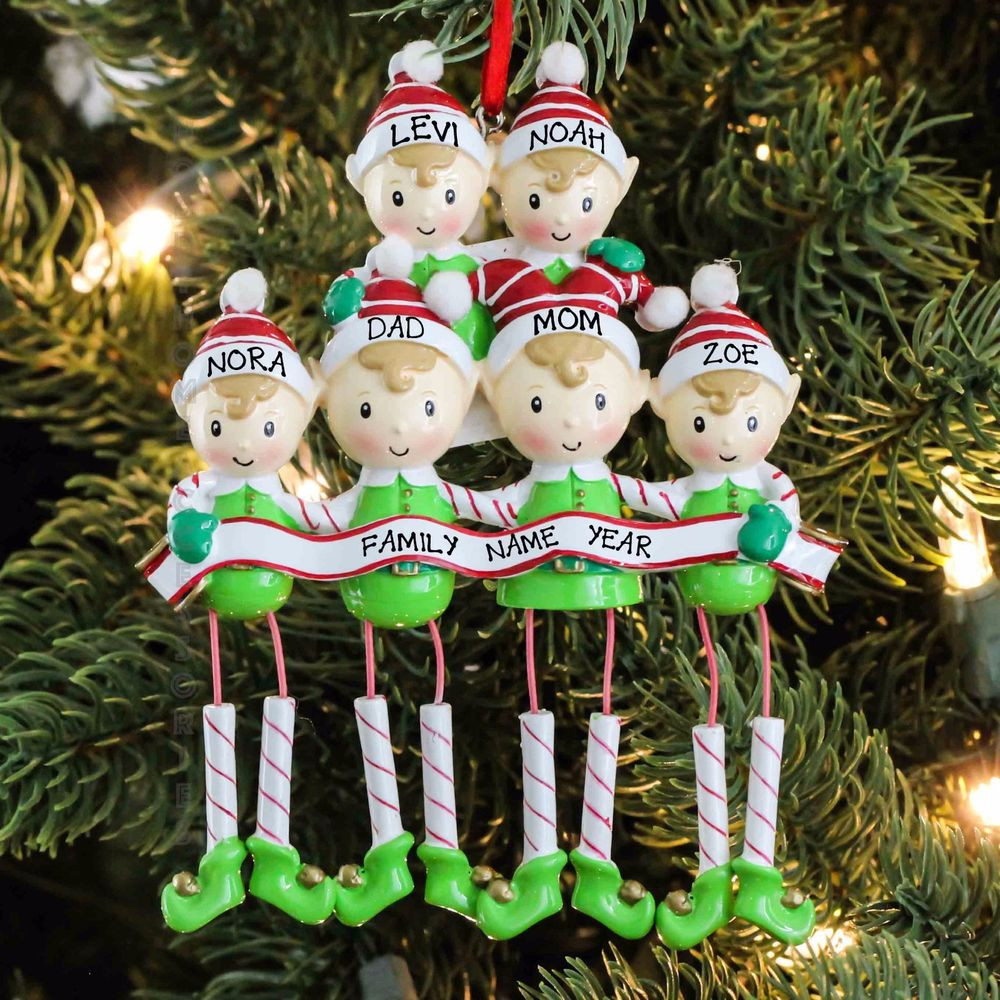 Elf Christmas ornaments New Polarx Dangling Elf Family Of Six Personalized Christmas Of Top 47 Photos Elf Christmas ornaments