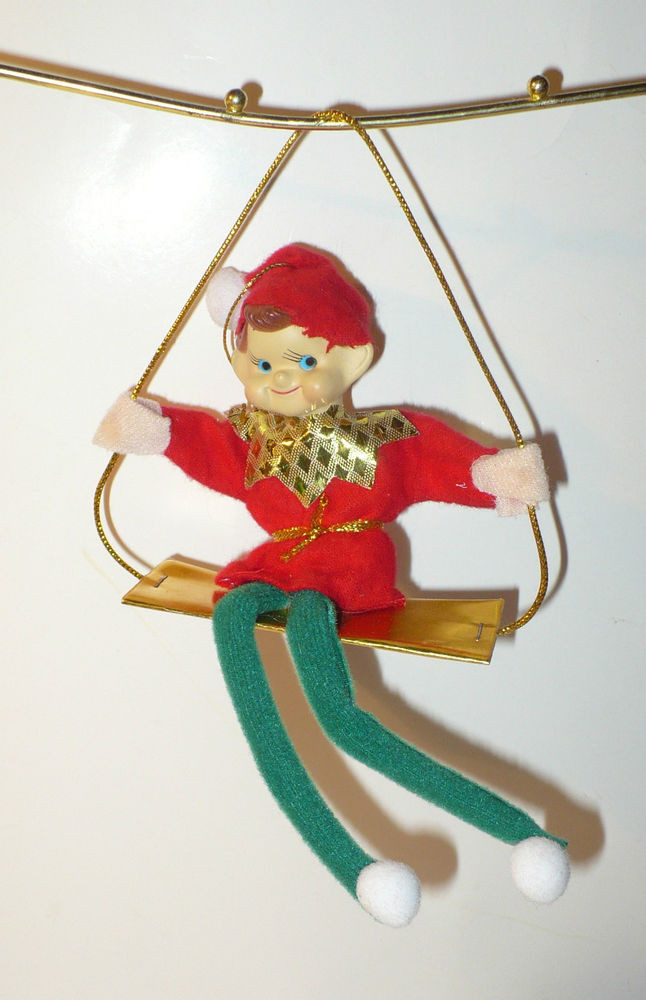 Elf Christmas ornaments Unique Vintage Christmas Pixie Elf On Swing Tree ornament Vgc Of Top 47 Photos Elf Christmas ornaments