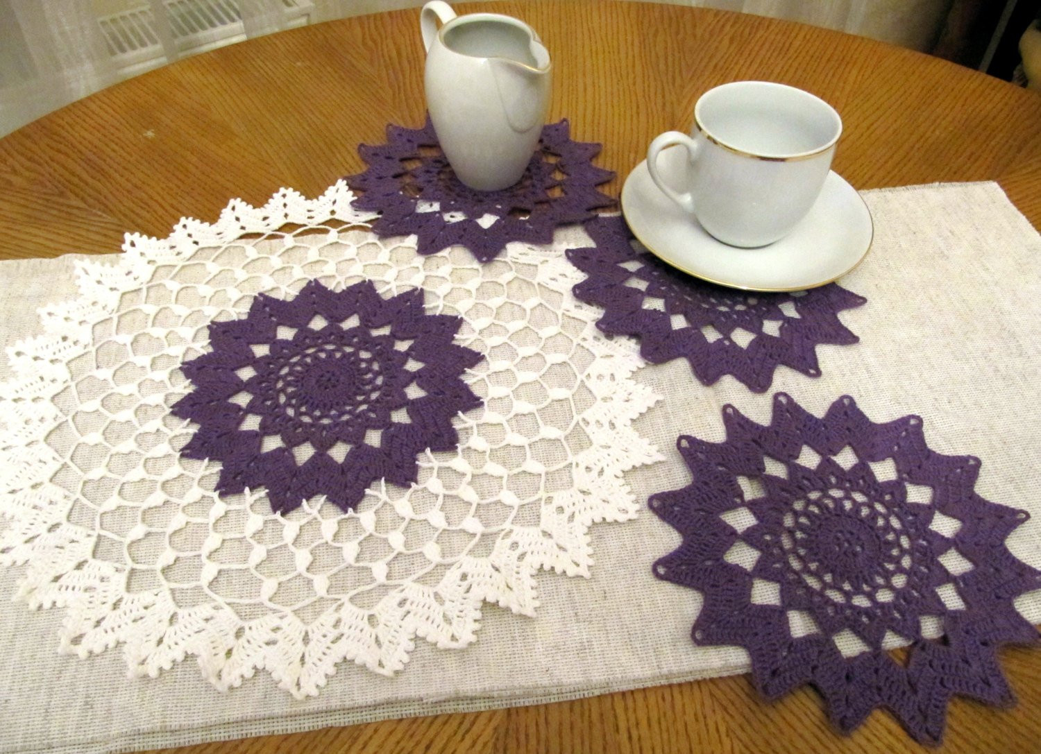End Table Doilies Best Of Crochet Purple Doily Set Of 4 Pcs Crochet Small Doily Table Of Great 42 Images End Table Doilies