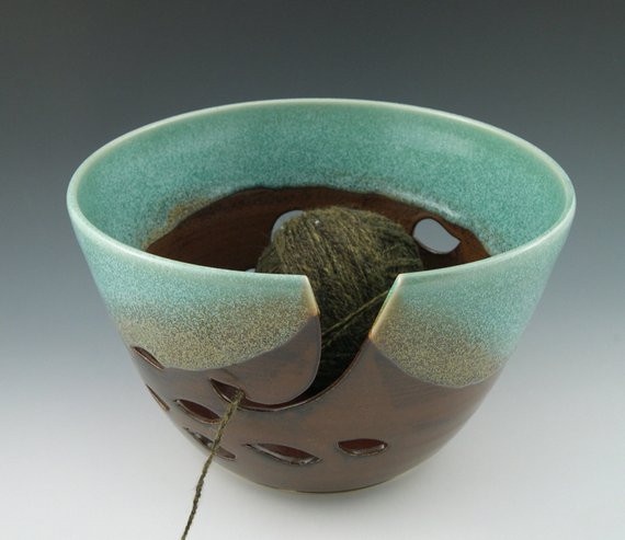 Extra Large Yarn Fresh Yarn Bowl Extra In Aqua and Brown by Aaslaksonpottery Of Delightful 44 Pictures Extra Large Yarn