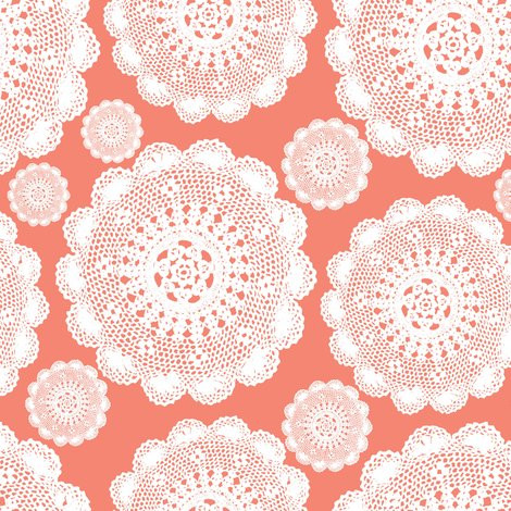Fabric Doilies Elegant Coral Doilies Fabric Mainsail Studio Spoonflower Of Attractive 41 Pics Fabric Doilies