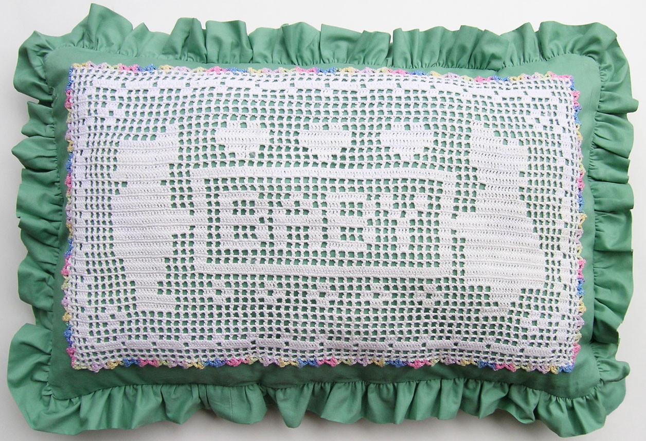 Filet Crochet Luxury Filet Crochet Baby Pillow – Q is for Quilter Of Filet Crochet Awesome Horse Filet Crochet Pattern