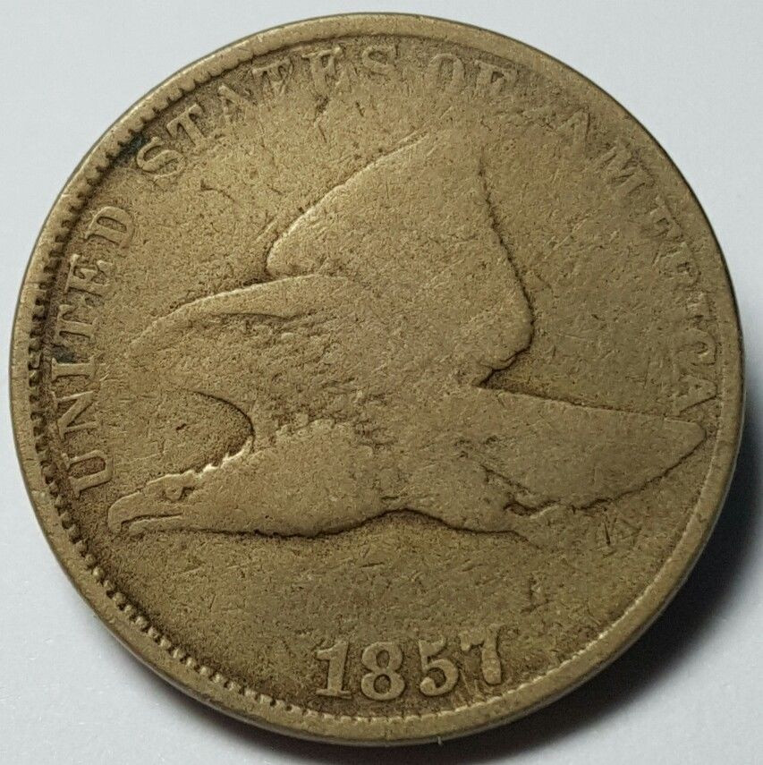 1857 United States Flying Eagle Penny Cent VG