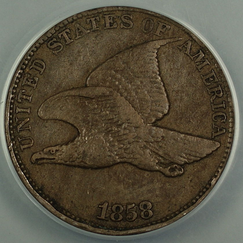 1858 Letters Flying Eagle Cent 1c Penny ANACS EF 40