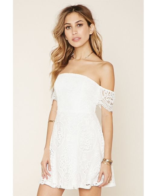 Forever 21 Crochet Dress Elegant forever 21 Crochet F the Shoulder Dress In White Of Brilliant 40 Models forever 21 Crochet Dress