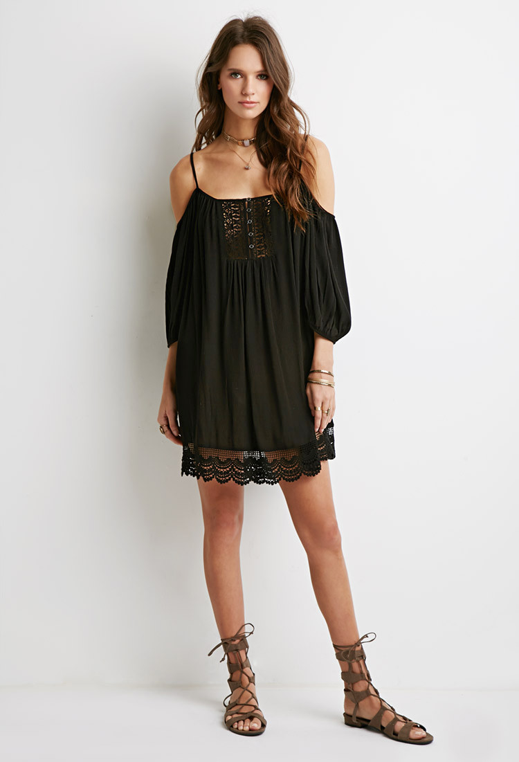 Forever 21 Crochet Dress Luxury forever 21 Crochet Paneled Open Shoulder Dress In Black Of Brilliant 40 Models forever 21 Crochet Dress