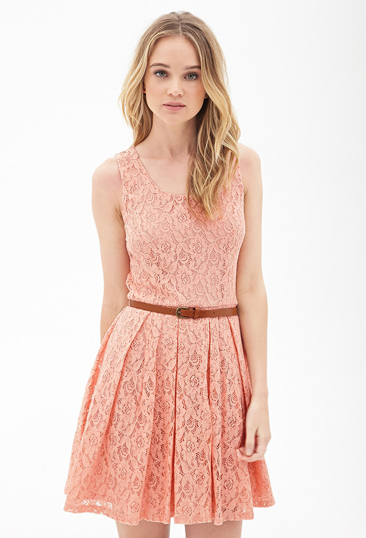 Lyst Forever 21 Belted Crochet Lace Dress in Pink