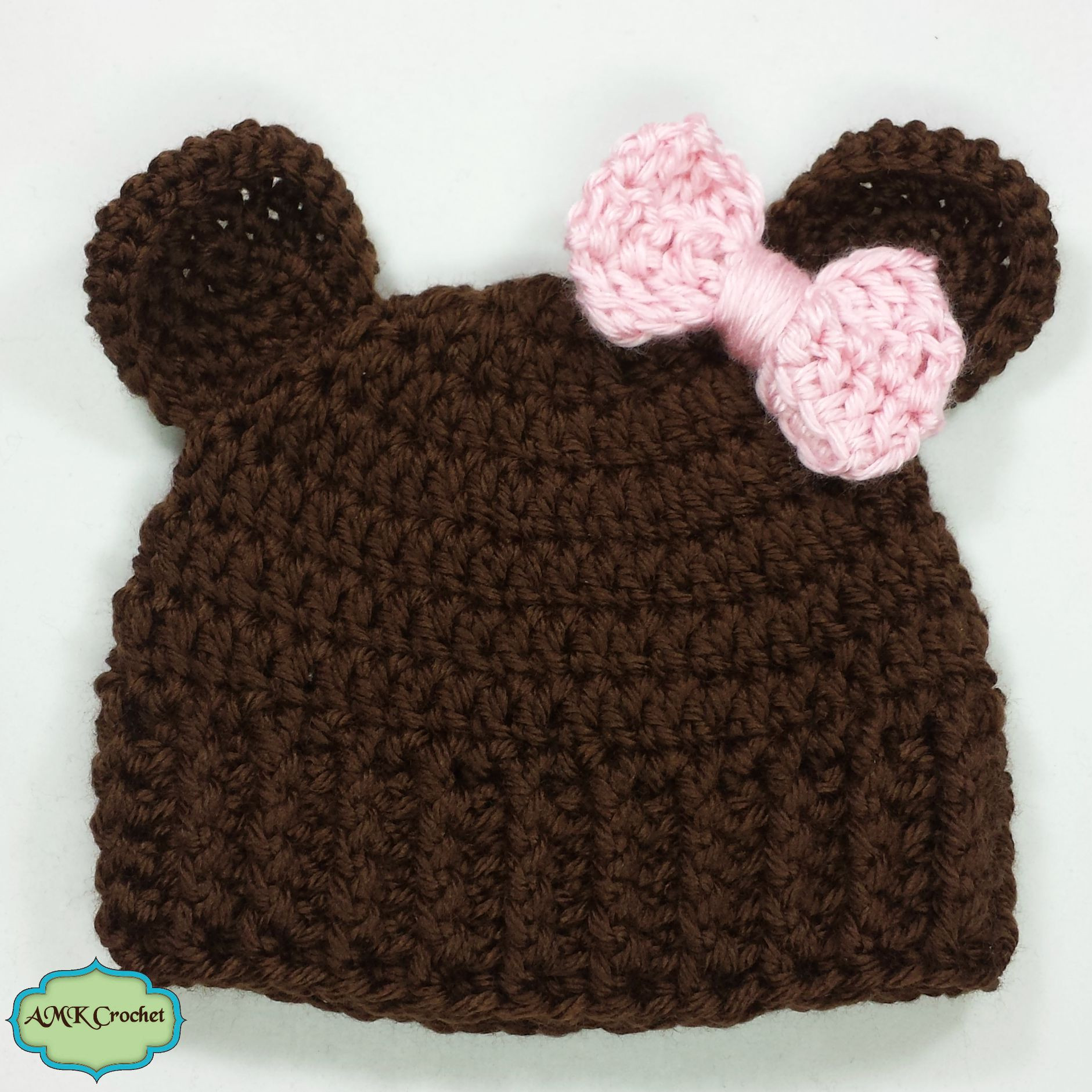 Free Crochet Baby Girl Newborn Bear Hat