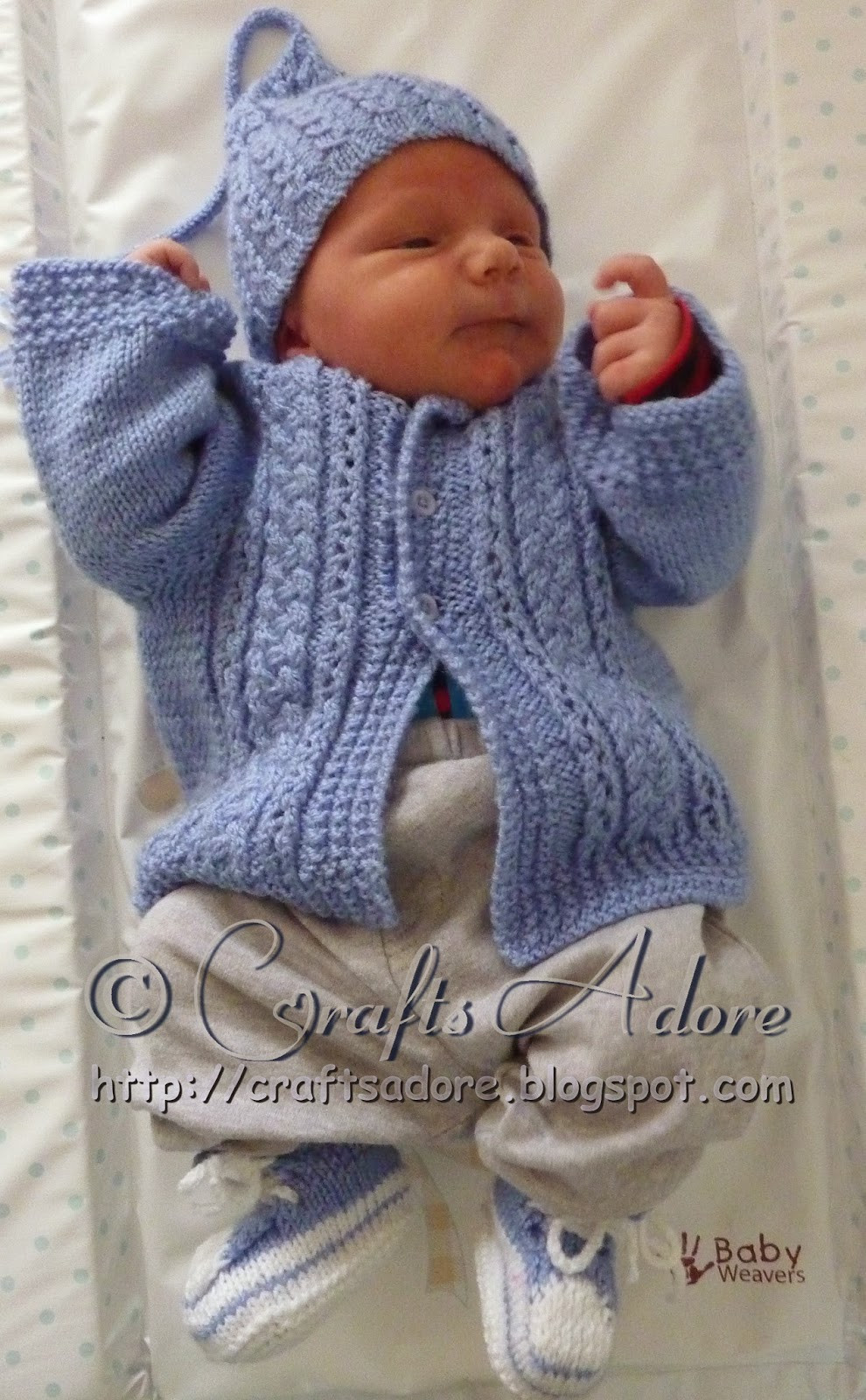 """CraftsAdore """"Handsome Cables"""" Knitted Baby Boy Cardigan"""