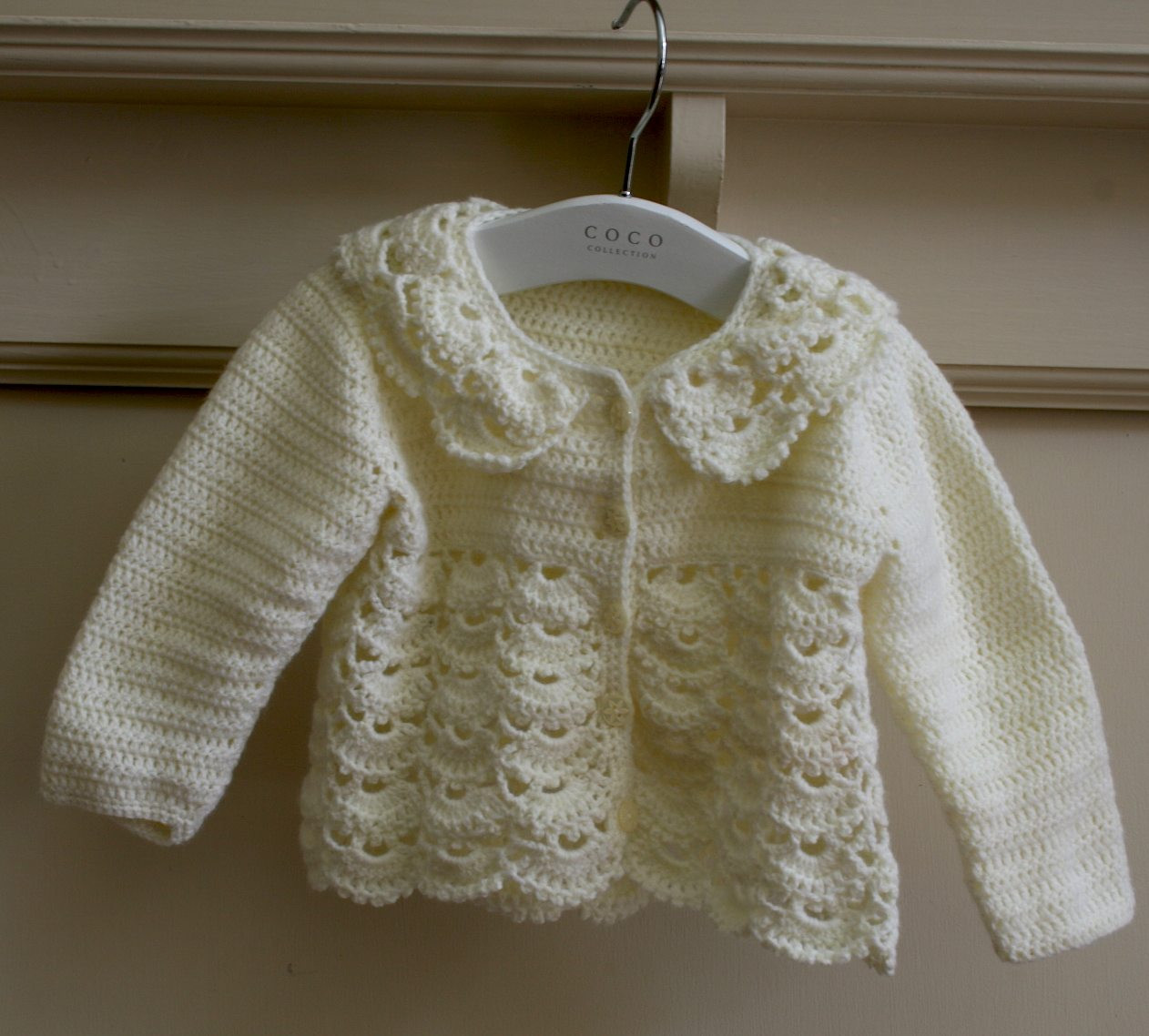 Crocheted Lacy Baby Cardigan
