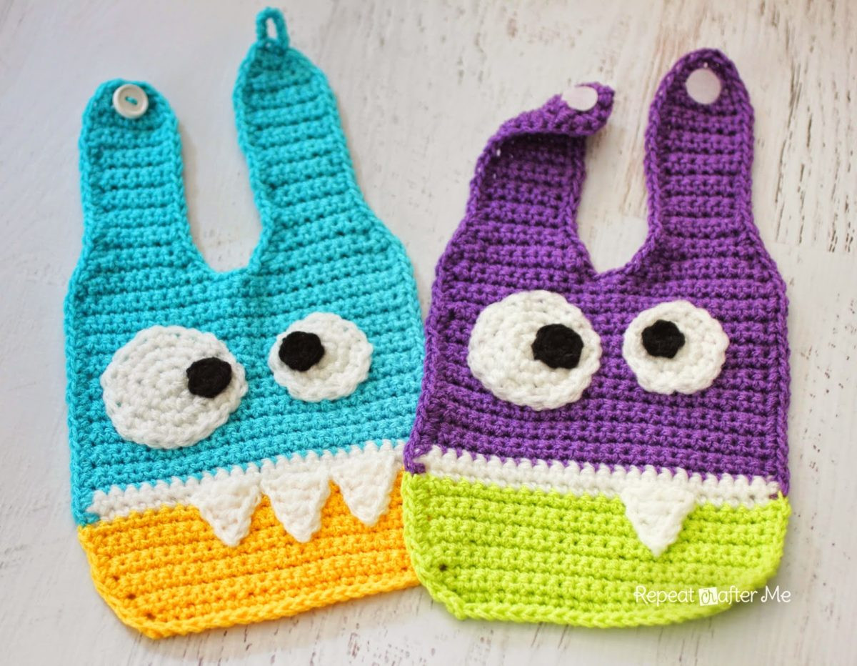 Free Crochet Baby Bib Patterns Awesome Crochet Monster Baby Bibs Repeat Crafter Me Of Adorable 48 Models Free Crochet Baby Bib Patterns