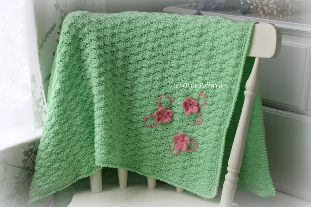 Lacy Crochet Shells Baby Blanket with Three Flowers My