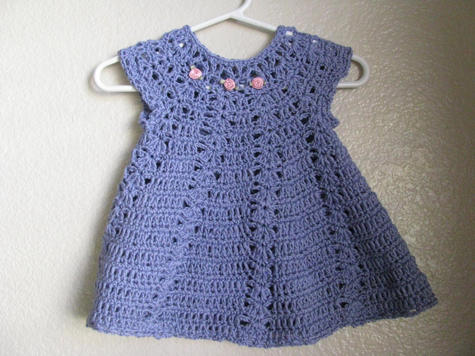 My latest project My first crocheted baby dress finished