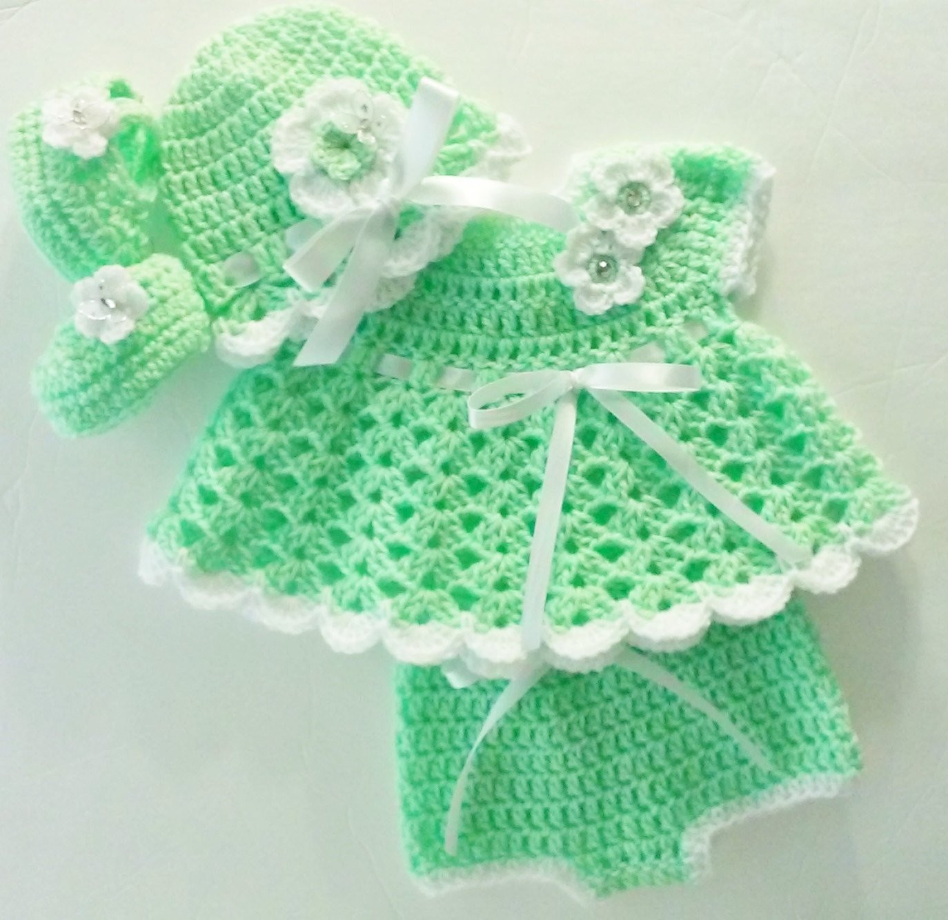 Free Crochet Baby Layette Patterns Luxury Crochet Kiwi Green Baby Girl Dress Set Layette with Bloomers Of Great 50 Pictures Free Crochet Baby Layette Patterns