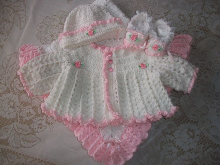 Free Crochet Baby Layette Patterns New Crochet Baby Girl Pink and White Sweater Set Bonnet Of Great 50 Pictures Free Crochet Baby Layette Patterns