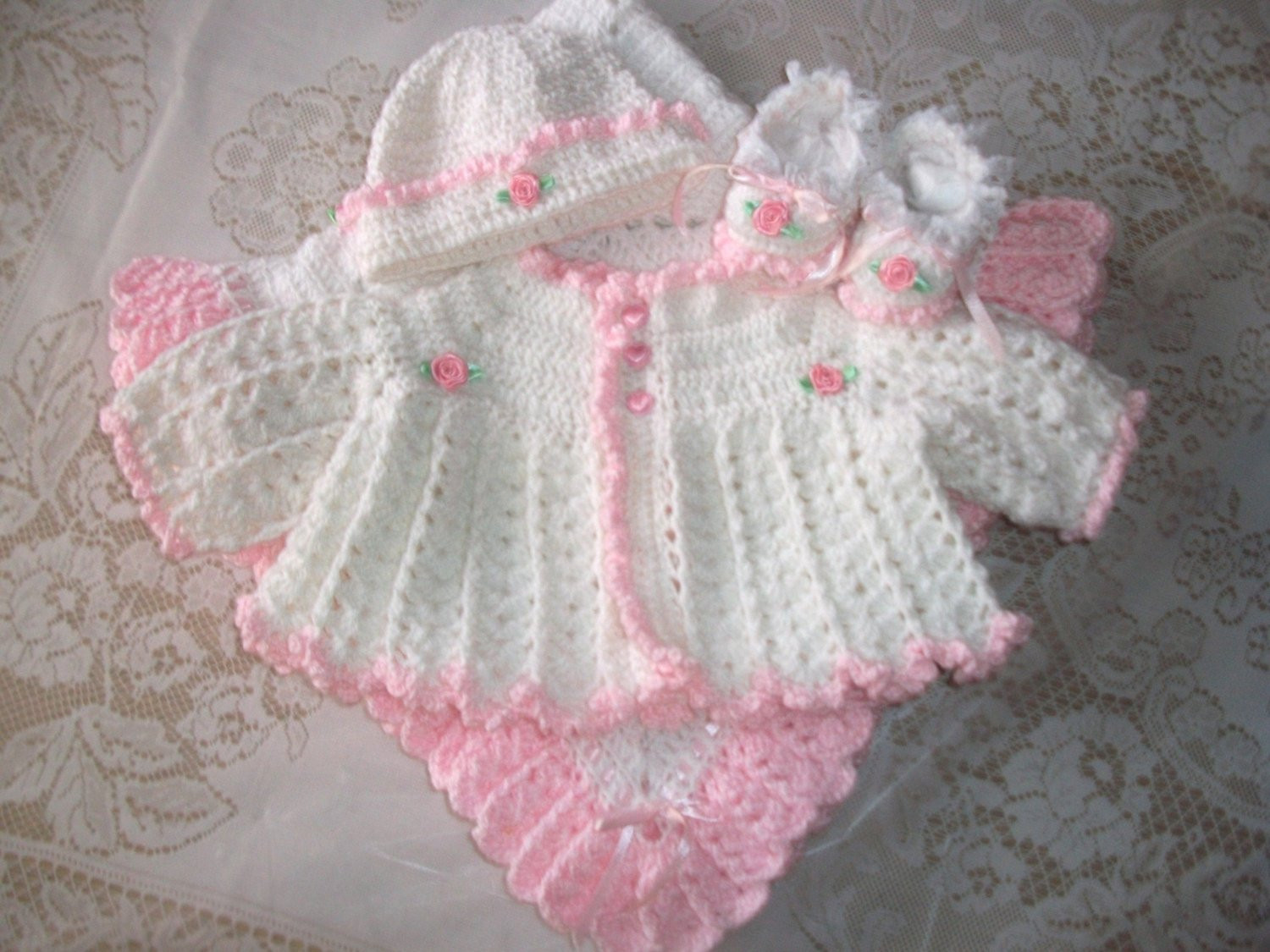 Free Crochet Baby Layette Patterns Unique Crochet Baby Girl Sweater Set Layette Perfect for Baby Shower Of Great 50 Pictures Free Crochet Baby Layette Patterns