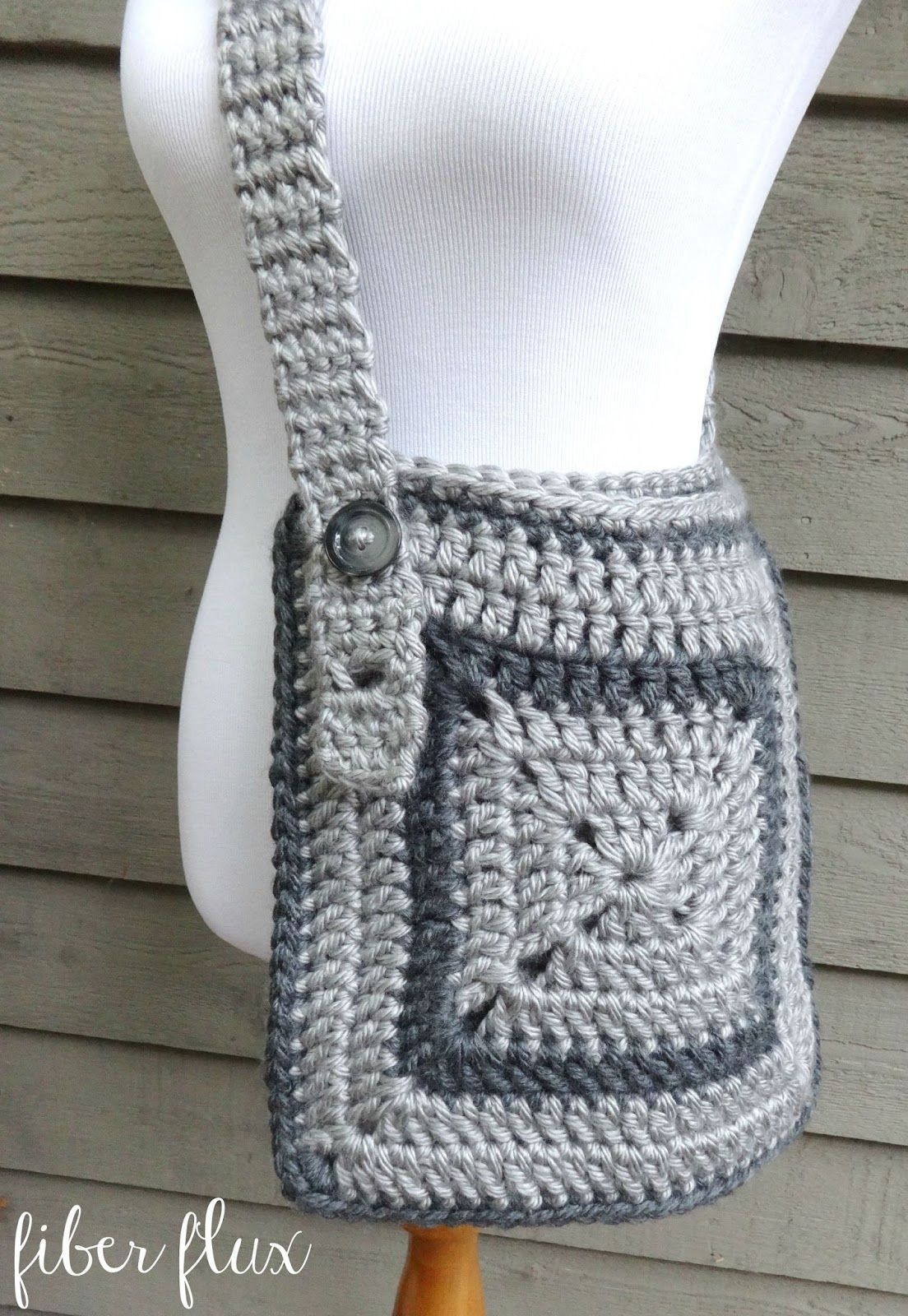 Fiber Flux Free Crochet Pattern Cozy Messenger Bag New