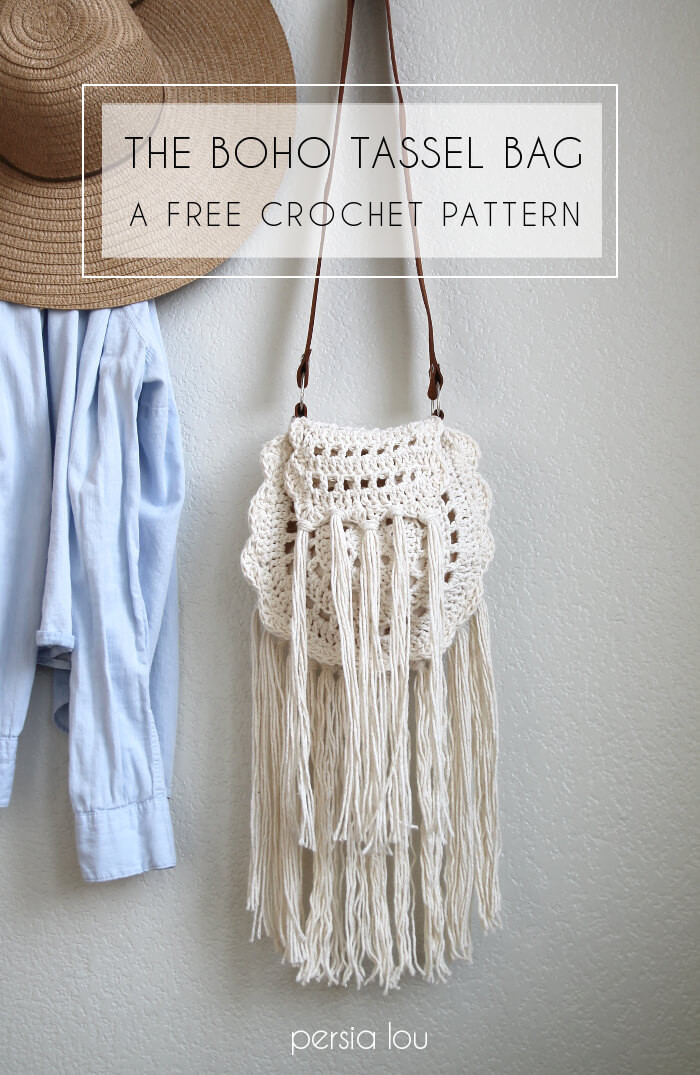 Free Crochet Bag Patterns Luxury Boho Tassel Crochet Bag Free Pattern Persia Lou Of Awesome 45 Ideas Free Crochet Bag Patterns