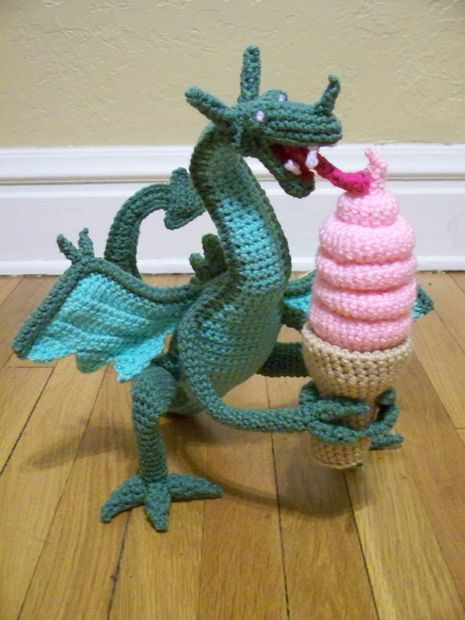 Free Crochet Dragon Pattern New Crocheted Dragon Eating Ice Cream All Of Amazing 50 Images Free Crochet Dragon Pattern