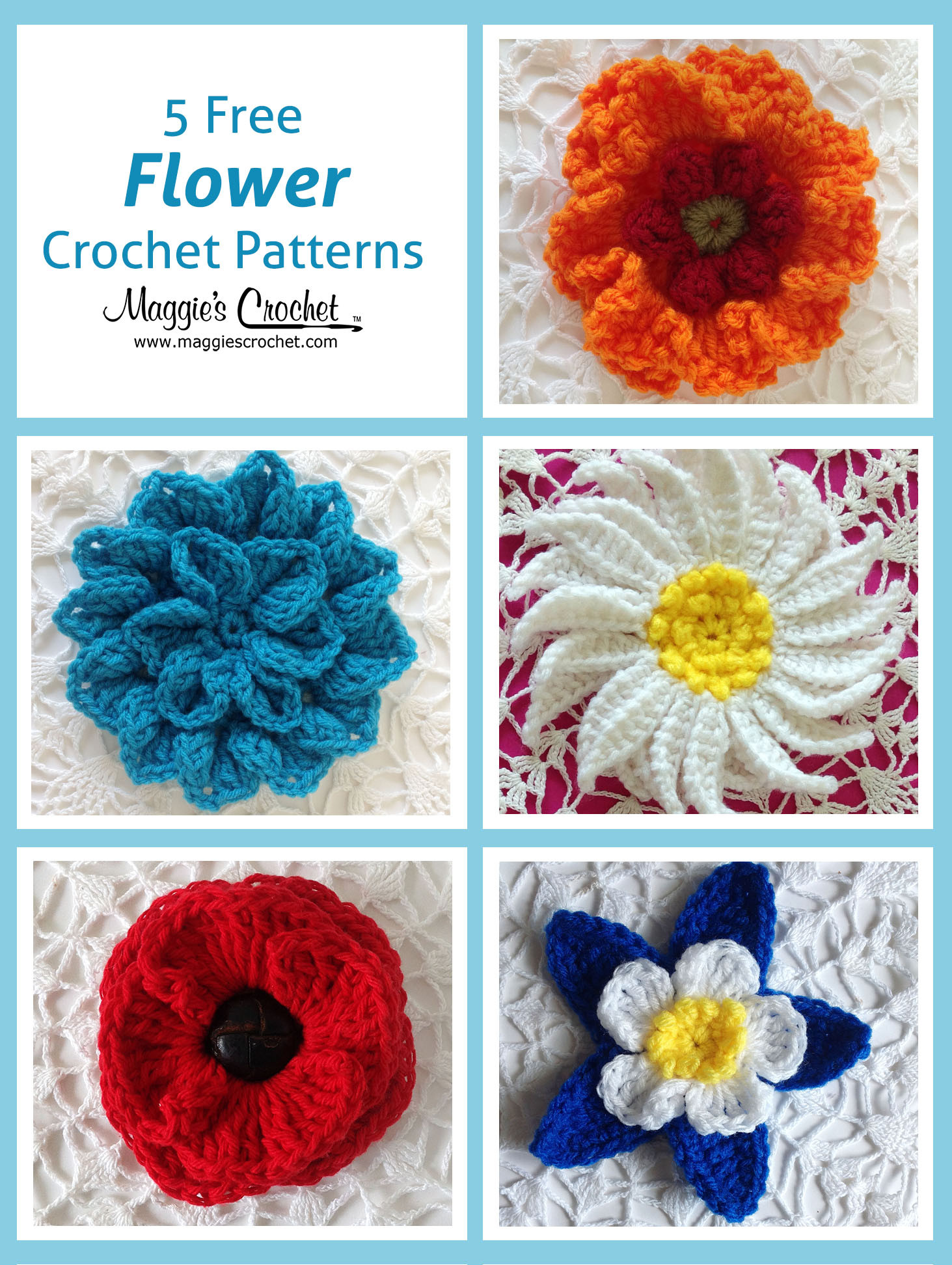 Free Crochet Flower Patterns New Five More Free Flower Patterns Of Amazing 42 Images Free Crochet Flower Patterns