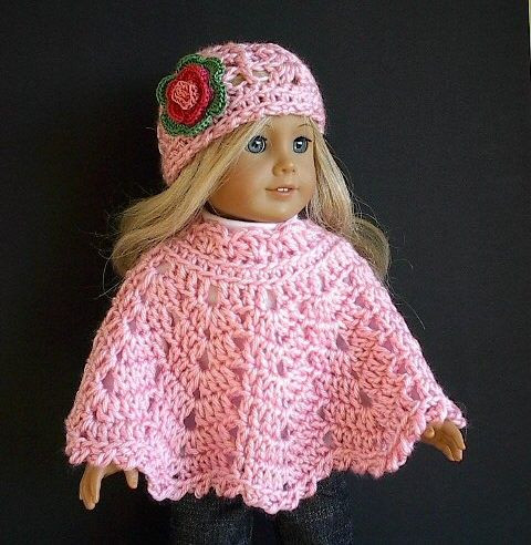 Free Crochet Patterns for American Girl Doll Beautiful 18 Doll Clothes Crocheted Pink Poncho Set with Flowered Of Contemporary 40 Pictures Free Crochet Patterns for American Girl Doll