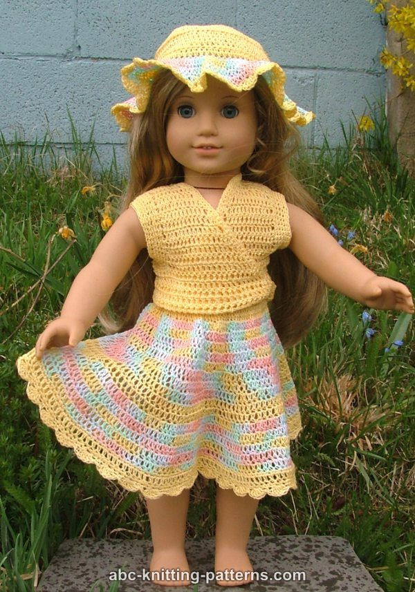 ABC Knitting Patterns American Girl Doll Buttercup Hat