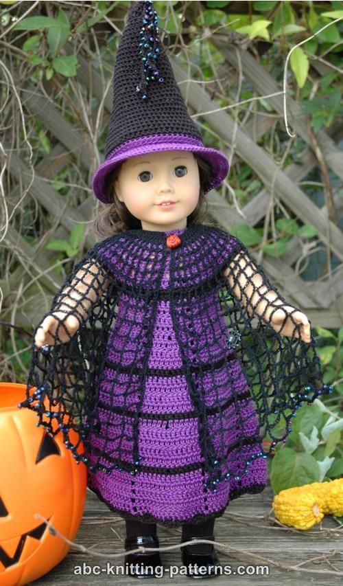 ABC Knitting Patterns American Girl Doll Witch s Cloak