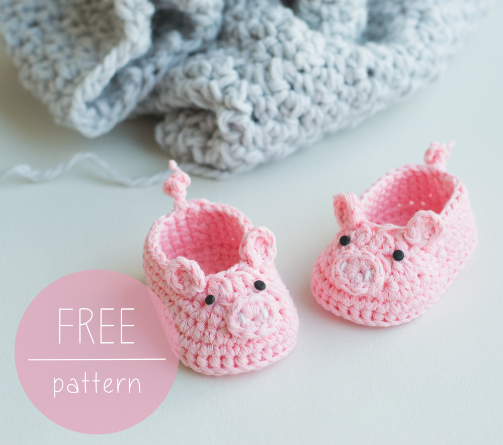 Free Crochet Pattern Piggy Baby Booties – Croby Patterns