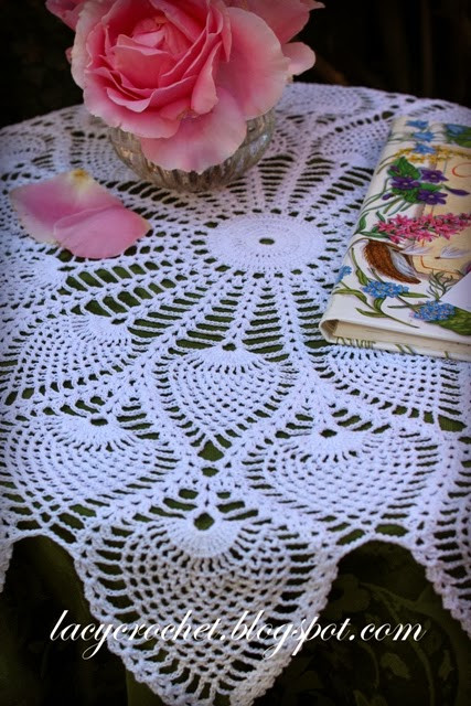 Free Crochet Pineapple Table Runner Patterns Awesome Lacy Crochet Royal Pineapple Table topper Of Amazing 49 Photos Free Crochet Pineapple Table Runner Patterns