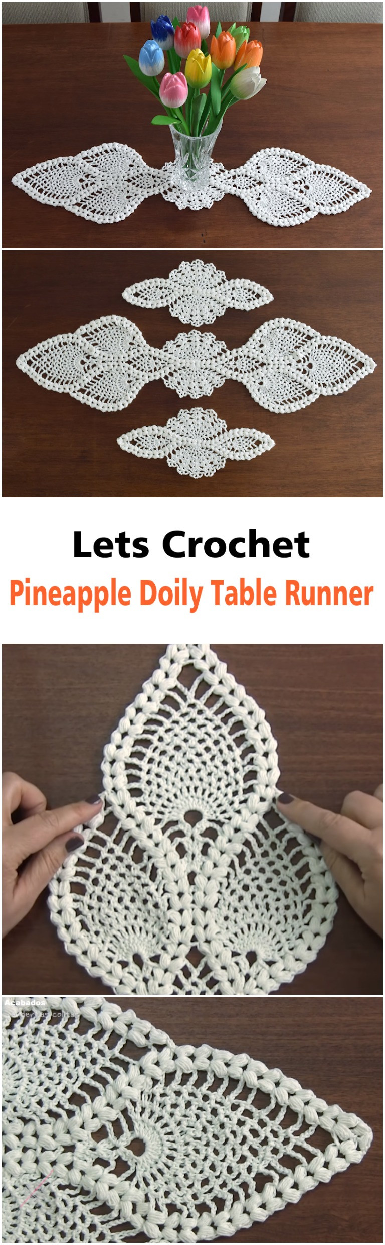 Crochet Pineapple Doily Table Runner ilove crochet