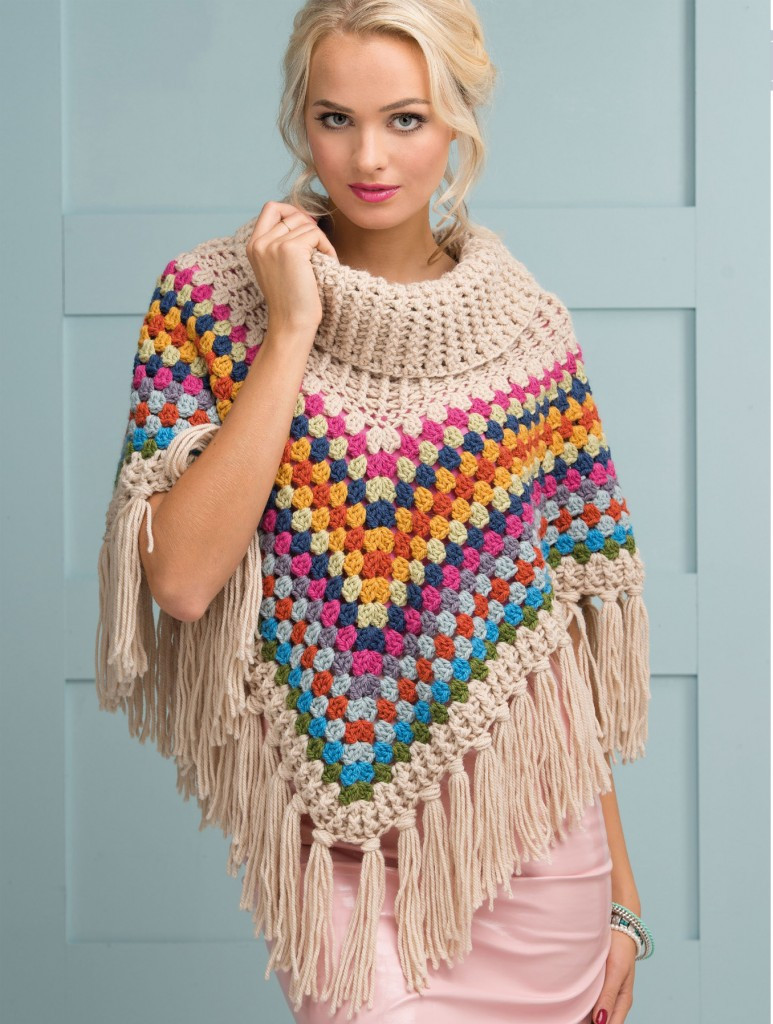 Cowl neck poncho pattern Simply Crochet