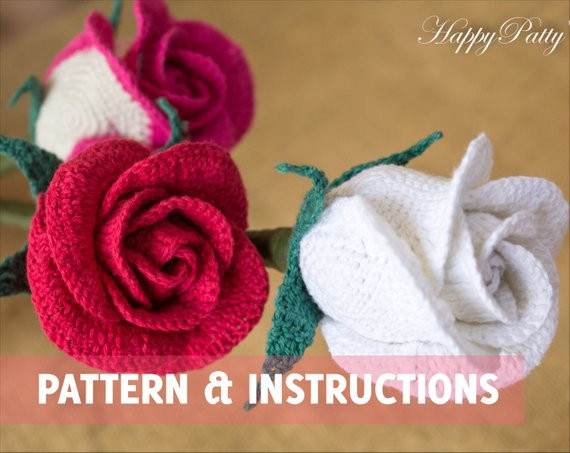 crochet rose pattern half open rose bowl