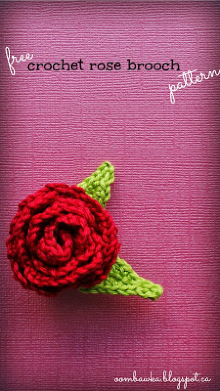 Free Crochet Rose Pattern Awesome Free Crochet Pattern Rose Brooch with Leaves • Oombawka Of Attractive 49 Pics Free Crochet Rose Pattern