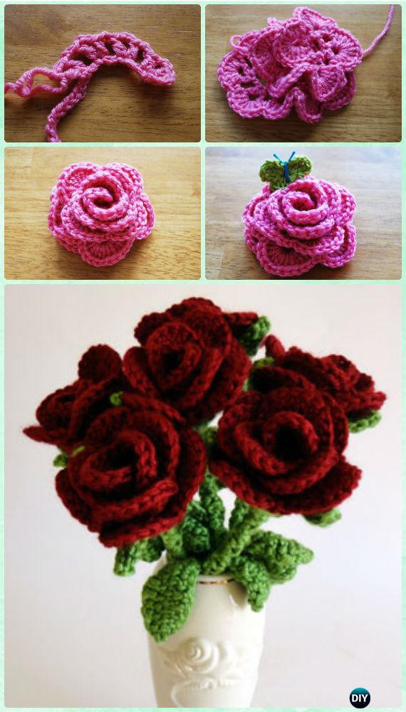 Free Crochet Rose Pattern Beautiful Crochet 3d Flower Bouquet Free Patterns [picture Instructions] Of Attractive 49 Pics Free Crochet Rose Pattern