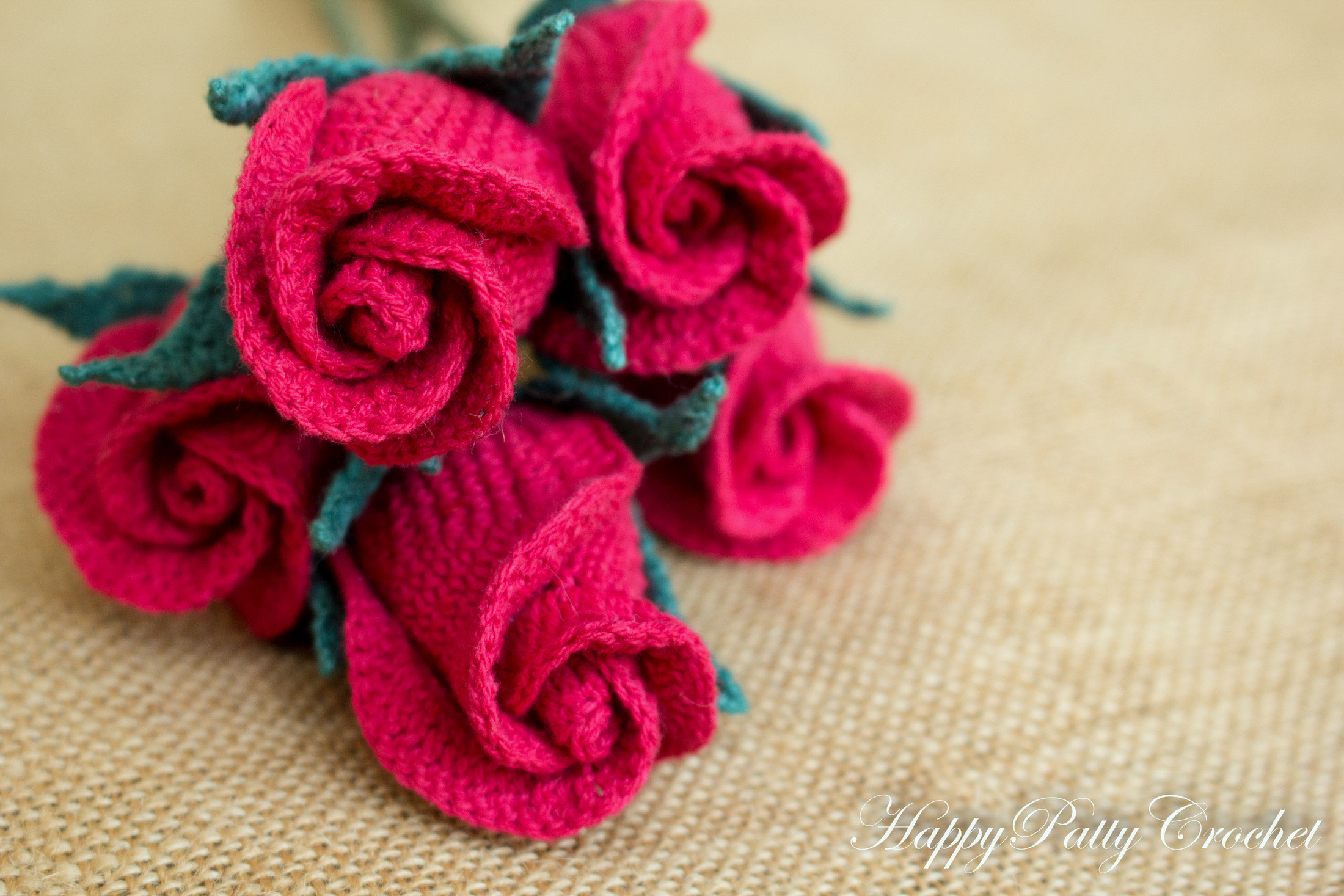 Crochet Closed Rose Pattern by Happy Patty Crochet