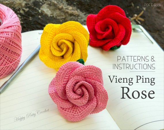 Crochet Rose PATTERN Vieng Ping Rose Easy Crochet Flower