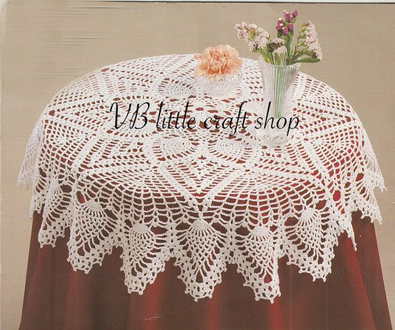 Free Crochet Table topper Patterns Awesome Doily Table topper with Pineapples Crochet Pattern Instant Of Innovative 45 Ideas Free Crochet Table topper Patterns