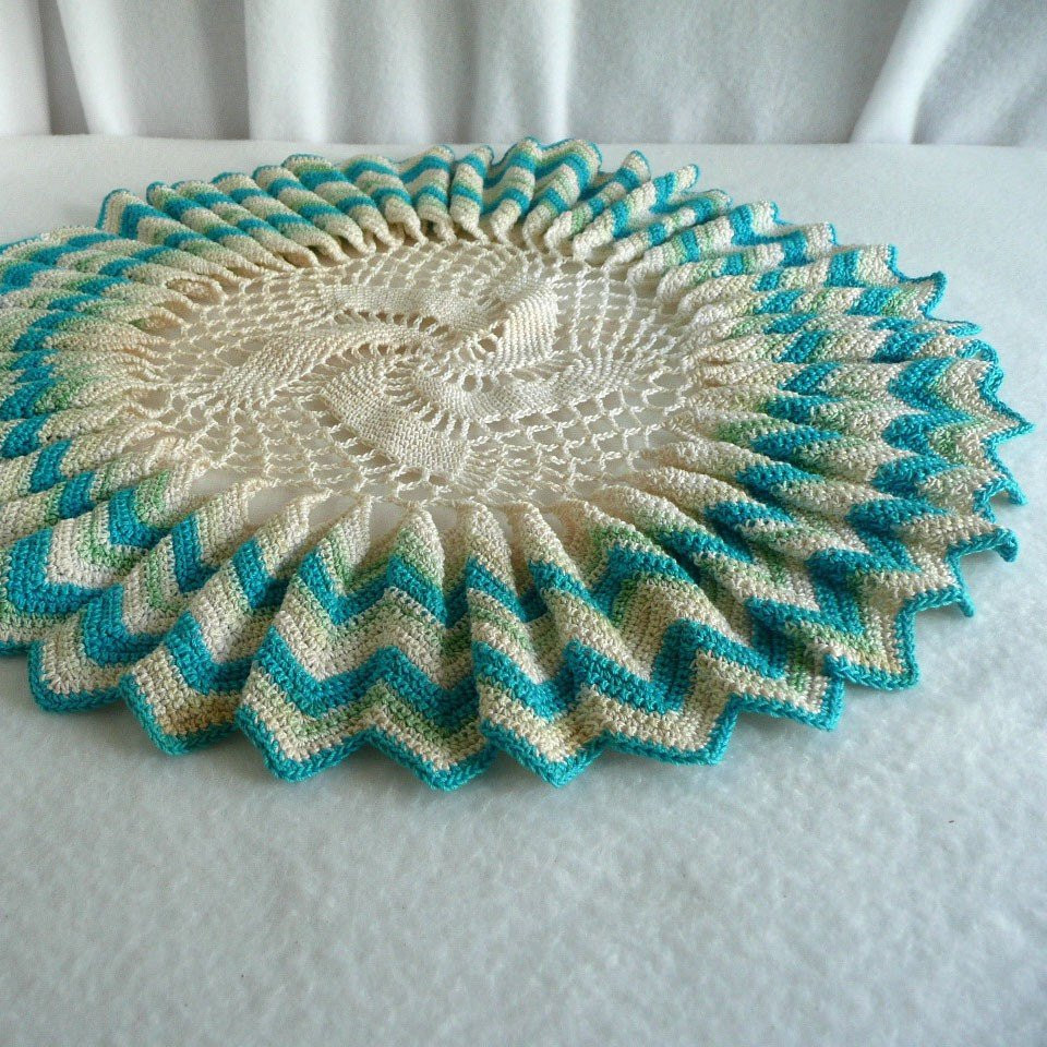 Ruffled Lace Doily Crochet Table Topper by SweetRiceVintage