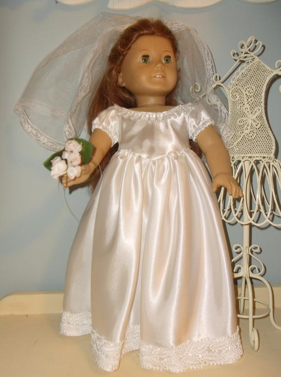 Fresh 18 Inch American Girl Doll Wedding Dress and Veil by American Girl Doll Wedding Dress Of Beautiful American Girl Doll Wedding Dress Satin and Silver American Girl Doll Wedding Dress