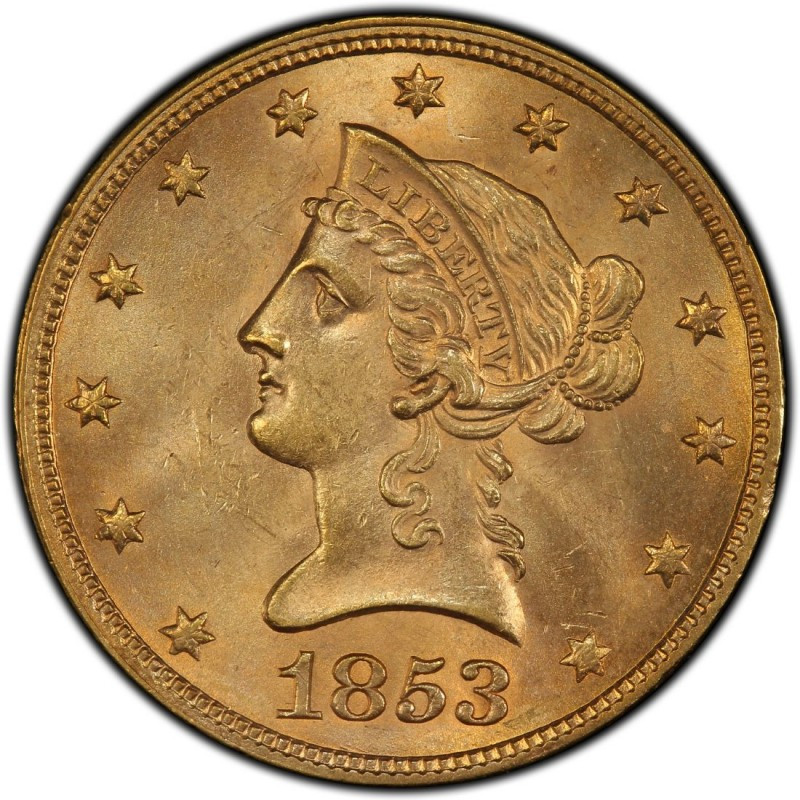 1853 Liberty Head $10 Gold Eagle Values and Prices Past