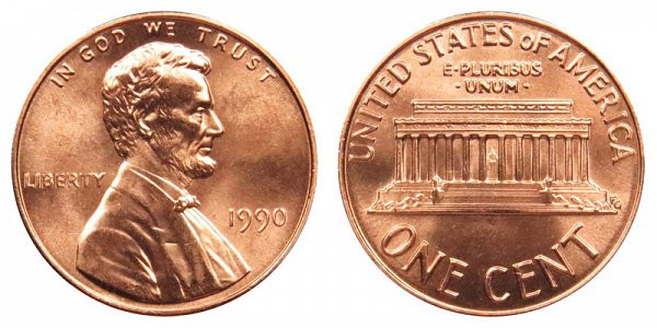 1990 P Lincoln Memorial Cent Copper Plated Zinc Penny