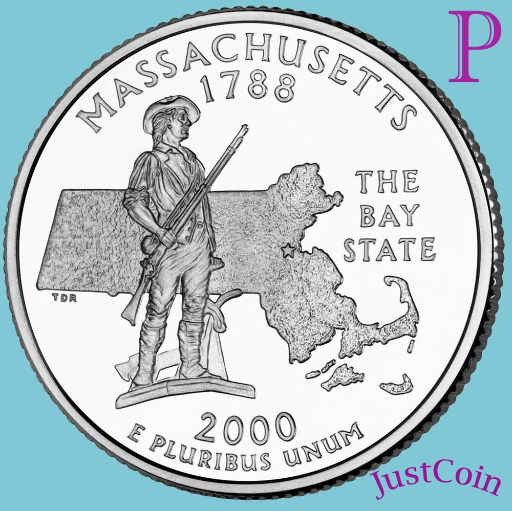 Fresh 2000 P Massachusetts Ma State Quarter Uncirculated From State Quarter Mintage Of Unique 41 Models State Quarter Mintage