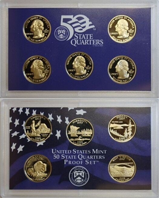 Fresh 2005 S Clad 5 Coin State Quarter Gem Proof Set No Box Coa State Quarter Set Of Superb 44 Pictures State Quarter Set