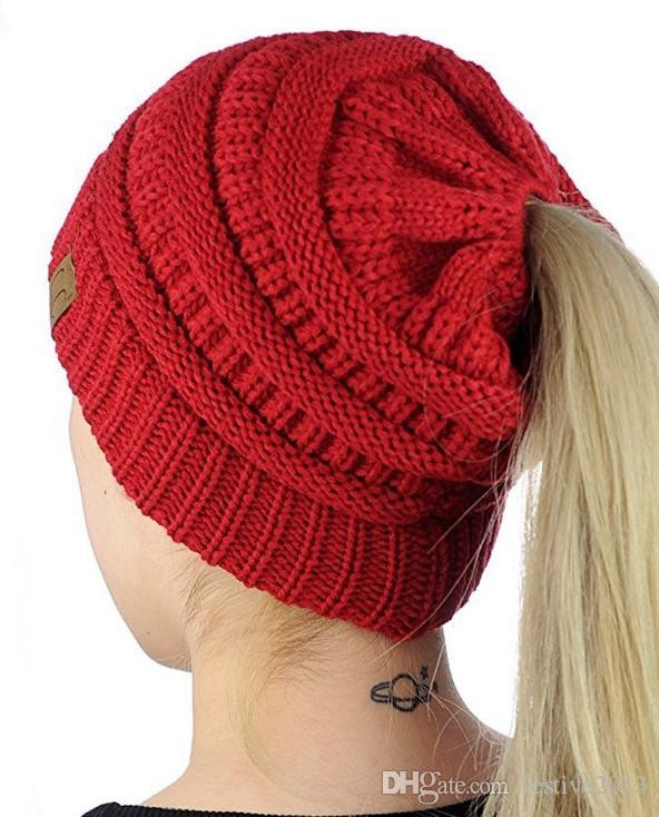 Fresh 2018 Newest Desgin Cc Crochet Beanie Women Fashion Knitted Stocking Cap with Ponytail Hole Of Unique 36 Models Stocking Cap with Ponytail Hole