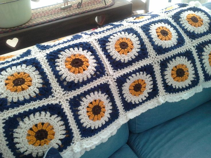 Fresh 47 Best Images About Crochet Sunflower On Pinterest Sunflower Crochet Blanket Of Elegant Hand Crocheted Sunflower Granny Square Blanket Afghan Throw Sunflower Crochet Blanket